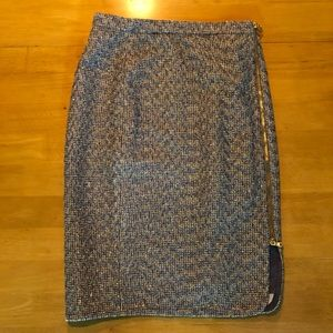J. Crew metallic tweed pencil skirt